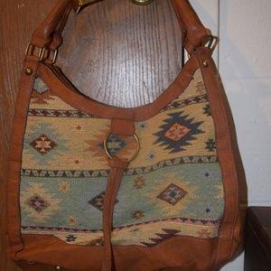 Bueno Aztec Cloth Leather Purse Handbag Tote